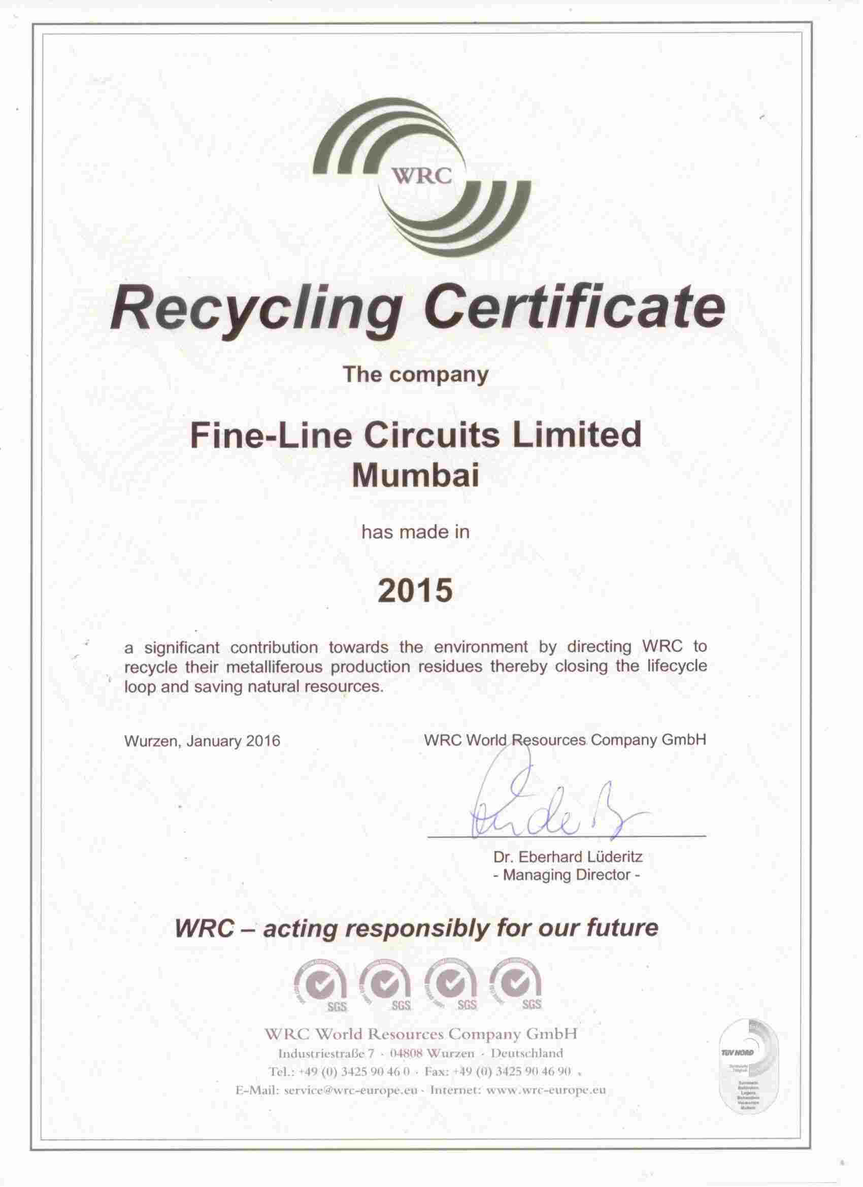 Fine-Line - Recycling Certificate