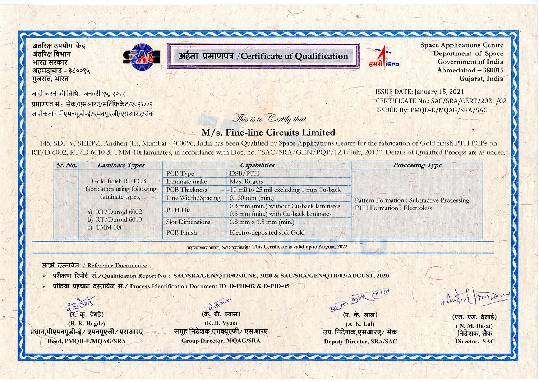 SAC SRA Certificate 2021 - RFPCB